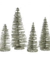 Mintgroene kleine kunst kerstboom glitter 15 cm 4 stuks trend