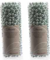 Mintgroene kralenslinger kerstslinger 10 mtr 2 stuks trend