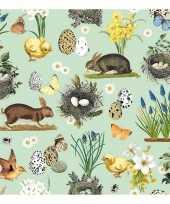 Mintgroene pasen servetten met dieren 20 stuks trend