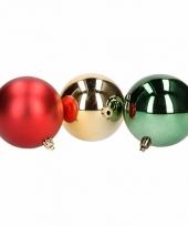 Mix kerstballen pakket goud glans en rood mat trend 10081388