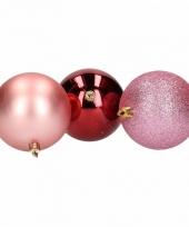 Mix kerstballen pakket roze glitter en bordeaux glans trend 10081386