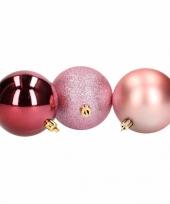 Mix kerstballen pakket roze glitter en bordeaux glans trend