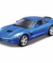 Modelauto chevrolet corvette blauw 1 32 trend