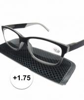 Modieuze leesbril 1 75 antraciet grijs trend