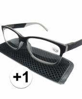 Modieuze leesbril 1 antraciet grijs trend