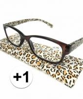 Modieuze leesbril 1 in tijgerprint trend