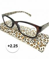Modieuze leesbril 2 25 in tijgerprint trend