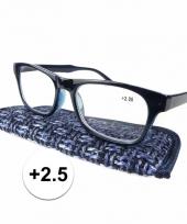 Modieuze leesbril 2 5 donkerblauw trend
