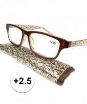 Modieuze leesbril 2 5 fantasy bruin trend