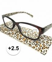 Modieuze leesbril 2 5 in tijgerprint trend