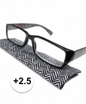 Modieuze leesbril 2 5 zigzag zwart wit trend