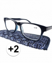 Modieuze leesbril 2 donkerblauw trend