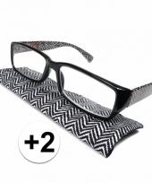 Modieuze leesbril 2 zigzag zwart wit trend