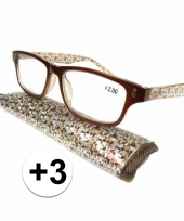 Modieuze leesbril 3 fantasy bruin trend