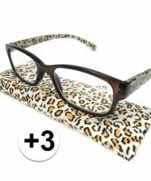 Modieuze leesbril 3 in tijgerprint trend