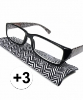 Modieuze leesbril 3 zigzag zwart wit trend