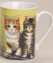 Mok met lieve katten groen 10 cm trend