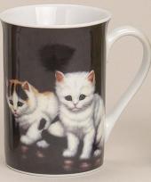 Mok met lieve katten zwart 10 cm trend