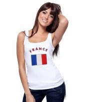 Mouwloos shirt met vlag frankrijk print voor dames trend