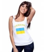 Mouwloos shirt met vlag oekraine print voor dames trend