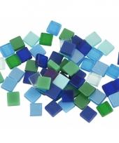 Mozaiek tegels kunsthars groen blauw 5x5 trend