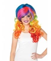 Multi color pruik voor dames met krullen trend