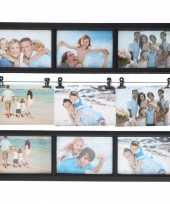 Multi zwarte fotolijst 9 fotos 48 x 38 cm trend
