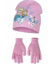 Muts en handschoenen frozen roze trend