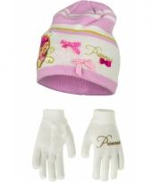 Muts en handschoenen prinses wit trend