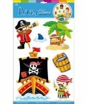 Muur deco stickers piraten 6 stuks trend