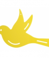 Muurdecoratie vogel geel 22 cm trend