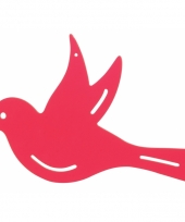 Muurdecoratie vogel roze 25 cm trend