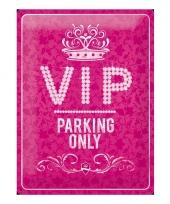 Muurplaat roze vip parking 30 x 40 cm trend