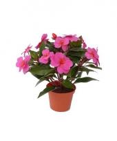 Namaak roze vlijtig liesje plantje 25 cm trend