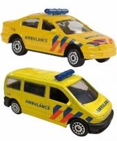 Nederlandse ambulance speelgoed modelauto set 2 dlg trend