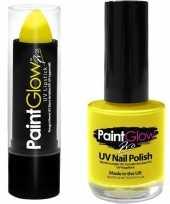 Neon gele uv lippenstift lipstick en nagellak schmink set trend