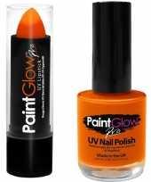 Neon oranje uv lippenstift lipstick en nagellak schmink set trend