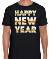 Nieuwjaar happy new year tekst t-shirt zwart met goud voor heren trend