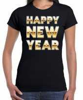 Nieuwjaar happy new year tekst t-shirt zwart voor dames trend