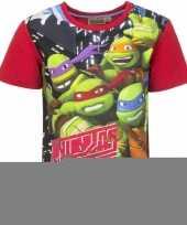 Ninja turtles t-shirt met rode mouwtjes trend