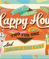 Nostalgisch muurplaatje happy hour 15 x 20 cm trend