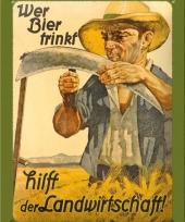Nostalgisch muurplaatje wer bier trinkt 15 x 20 cm trend