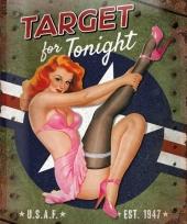 Nostalgische muurplaat target for tonight 30 x 40 cm trend