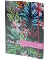 Notitieboek tropische print met elastiek a4 formaat trend