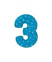 Nummer ballonnen 3 blauw trend