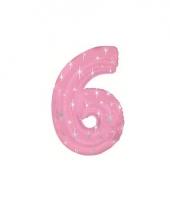 Nummer ballonnen 6 roze trend