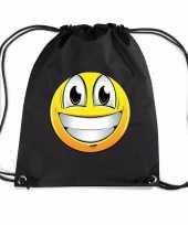 Nylon emoticon smile super vrolijk rugzak zwart met rijgkoord trend