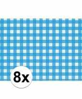 Oktoberfest 8x placemats blauw wit geblokt 43 x 30 cm trend