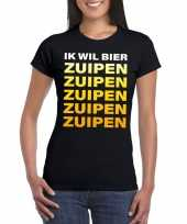 Oktoberfest ik wil bier zuipen tekst t-shirt zwart dames trend