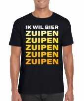 Oktoberfest ik wil bier zuipen tekst t-shirt zwart heren trend